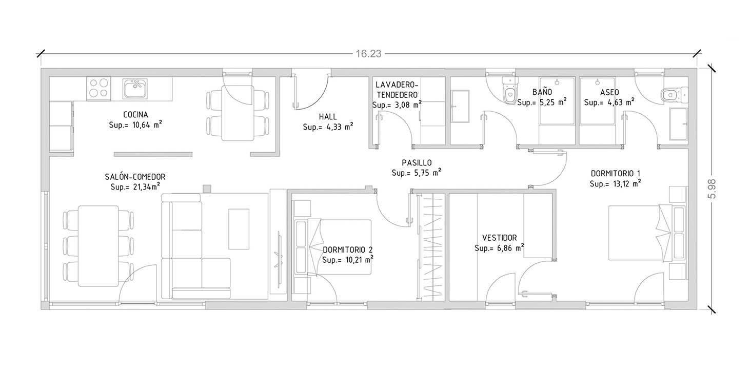 projeto de casa em aço leve com 2 quartos
