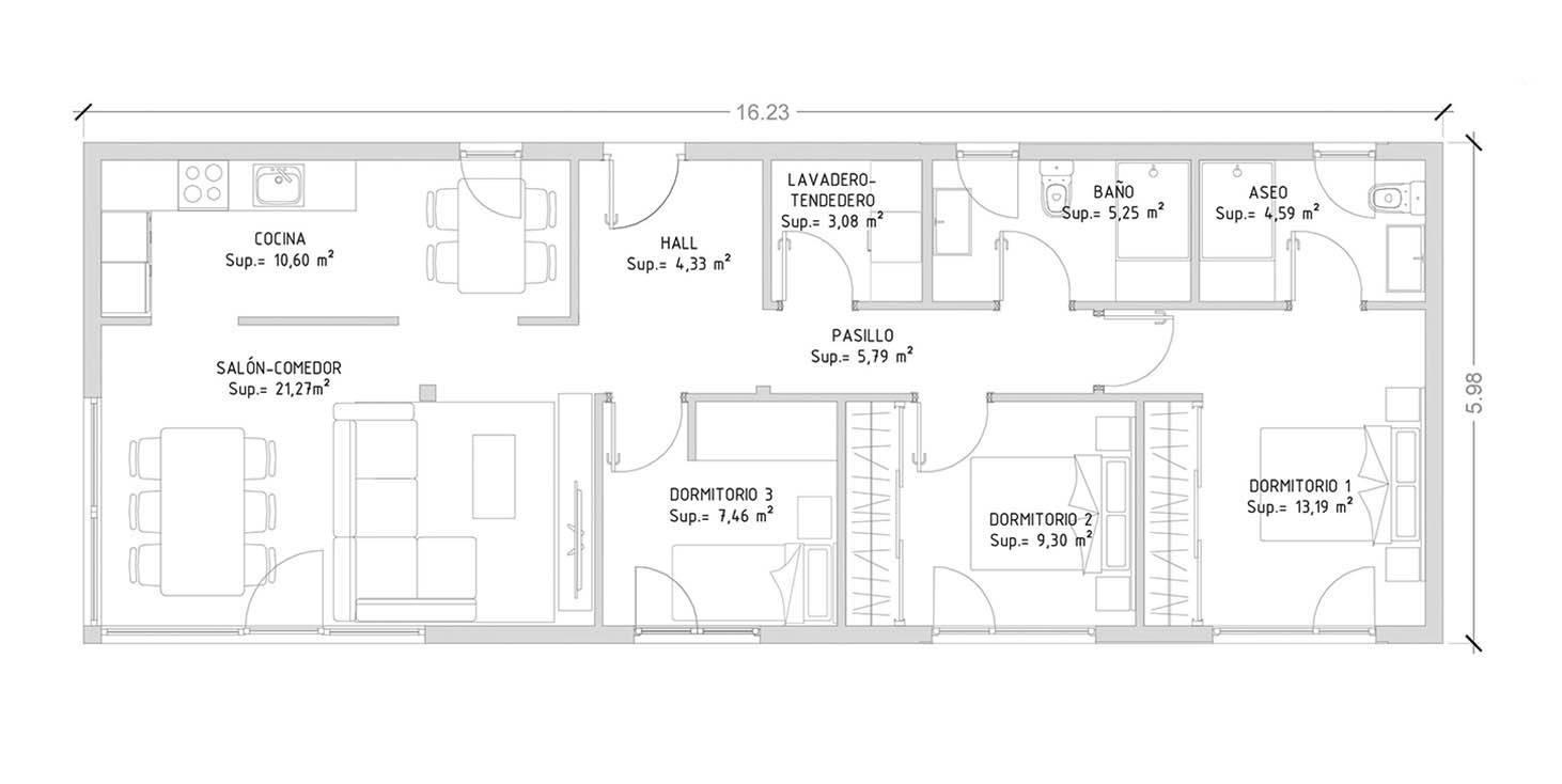 projeto de casa em aço leve com 3 quartos