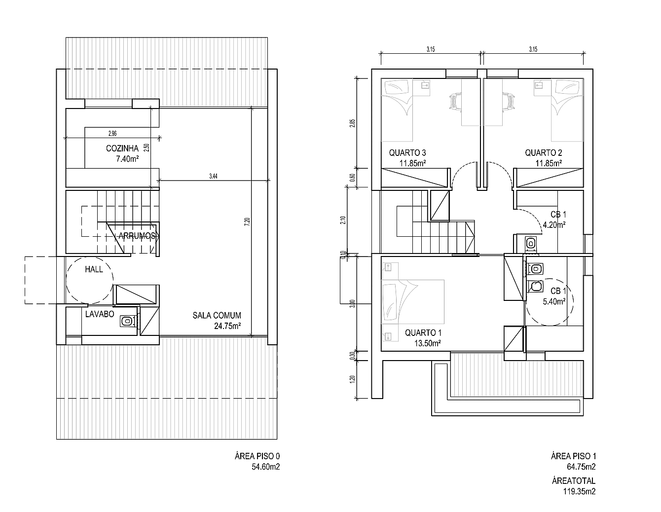 projeto de casas modulares T3 100m2 com 2 piso